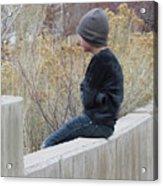 Boy On Fence Acrylic Print