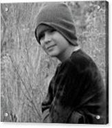 Boy On Fence Smiling - Bw Acrylic Print