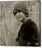 Boy On Fence Smiling - Sepia Acrylic Print