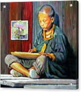 Boy Painting Lilies Acrylic Print