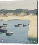 Boy Reading On A Harbour's Edge  Acrylic Print