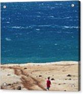 Boy Runs Toward Ocean Acrylic Print