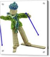 Boy Skiing In Burlap Crafts Acrylic Print