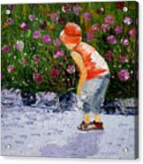 Boy Smeling Flowers Acrylic Print