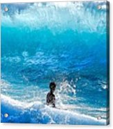 Boy And Wave   Kekaha Beach Acrylic Print