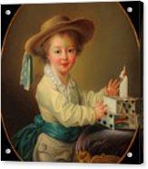 Boy With A House Of Cards                                   Acrylic Print