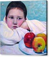 Boy With Apples Acrylic Print