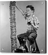 Boy With Huge Stack Of Toast, C.1950s Acrylic Print
