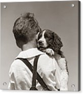 Boy With Puppy, C.1930-40s Acrylic Print