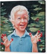 Boy With Raspberries Acrylic Print
