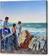 Boys And The Ocean Acrylic Print