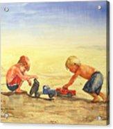 Boys And Trucks On The Beach Acrylic Print