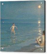 Boys Bathing At Skagen On A Summer Evening Acrylic Print