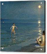 Boys Bathing At Skagen. Summer Evening Acrylic Print