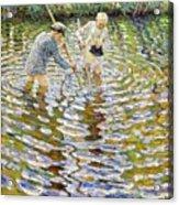 Boys Fishing For Minnows Acrylic Print