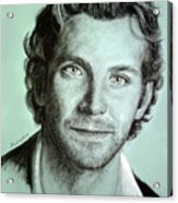 Bradley Cooper Charcoal Portrait Acrylic Print