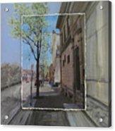 Brady Street With Tree Layered Acrylic Print