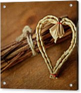 Braided Wicker Heart On Small Bundled Wood Acrylic Print