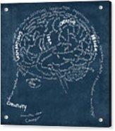Brain Drawing On Chalkboard Acrylic Print