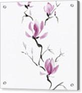Branch Of Blooming Purple Magnolia Flowers Japanese Zen Sumi-e P Acrylic Print