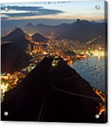 Brasil,rio De Janeiro,pao De Acucar,viewpoint,panoramic View,copacabana At Night Acrylic Print
