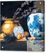 Brass Pot With White And Blue Vase Acrylic Print