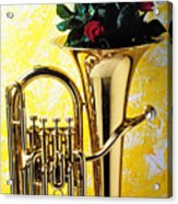 Brass Tuba With Red Roses Acrylic Print