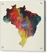 Brazil Watercolor Map Acrylic Print