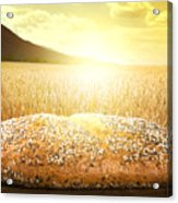 Bread And Wheat Cereal Crops At Sunset Acrylic Print