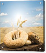 Bread And Wheat Ears. Acrylic Print by Deyan Georgiev