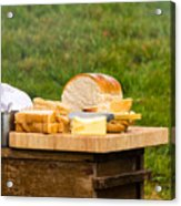 Bread With Butter On Cutting Board Acrylic Print