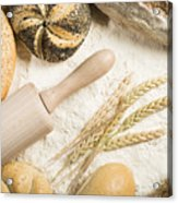 Breads. Pile Of Flour, Rolling Pin And Wheat Acrylic Print by Deyan Georgiev