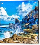 Breakers On The Rocks At Kenridgeview - On - Sea L A S Acrylic Print
