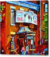 Breakfast At The Bagel Cafe Acrylic Print