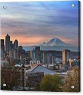 Breaking Dawn In Seattle Acrylic Print