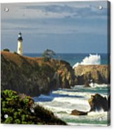 Breaking Waves At Yaquina Head Lighthouse Acrylic Print