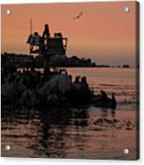 Breakwater Sunset Acrylic Print