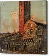 Brescia, Italy - Birds Flying Around Tower - Retro Travel Poster - Vintage Poster Acrylic Print