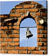 Brick Wall And Bell Acrylic Print