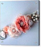 Bridal Sash Belt With Flowers And Rhinestones Acrylic Print