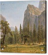 Bridal Veil Falls Yosemite Valley California Acrylic Print by Albert Bierstadt