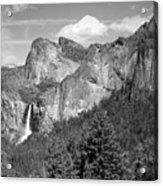Bridalveil Falls From Tunnel View B And W Acrylic Print