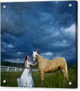 Bride And Horse With Storm Acrylic Print
