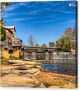 Bridge And Creek In The Fall Acrylic Print