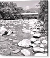 Bridge And Mountain Stream In Black And White Acrylic Print