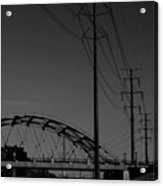 Bridge And Power Poles At Dusk Acrylic Print