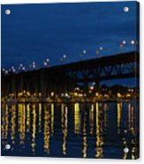Bridge At Night In Vancouver Acrylic Print