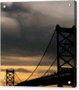 Bridge In Oil Acrylic Print by Thomas  MacPherson Jr