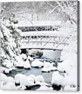 Bridge In Winter Snow Acrylic Print