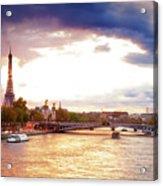 Bridge Of Alexandre IIi And Eiffel At Violet Sunset Acrylic Print